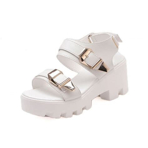chunky white platform sandals white chunky buckle white platform sandals