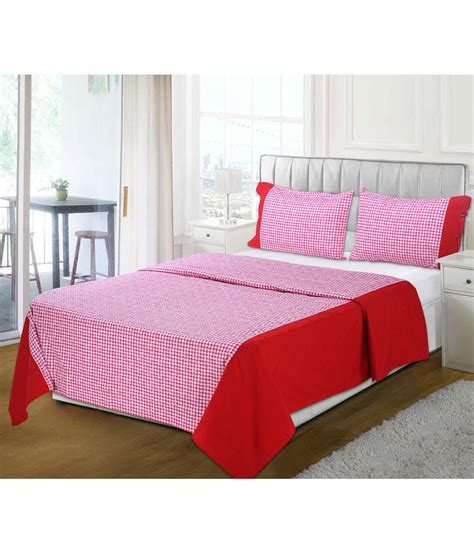 bed check aurave red check cotton bedsheet with 2 pillow covers 210