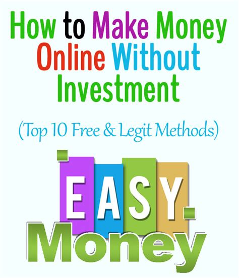 Make Money Online Without Investment Easy Way - top 10 legit ways to make money online without investment