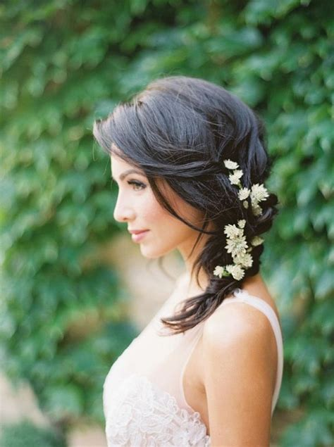 counrty wedding hairstyles for 2015 rustic medium wedding hairstyle with flowers deer pearl