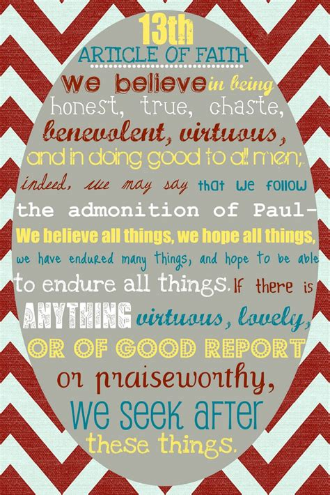 printable articles of faith 8 best images of article of faith printable version 13