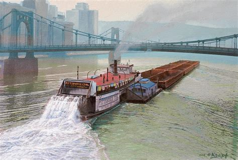 buy a boat pittsburgh pittsburgh river boat 1948 painting by paul krapf