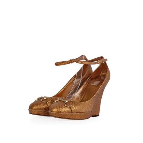 Promo Wedges Gucci Tutup gucci snakeskin horsebit wedges gold s 38 5 5 5 luxity