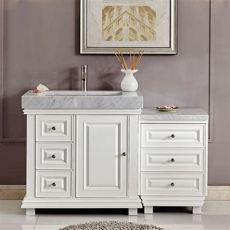 56 bathroom vanity 56 inch bathroom vanity white finish integrated carrara