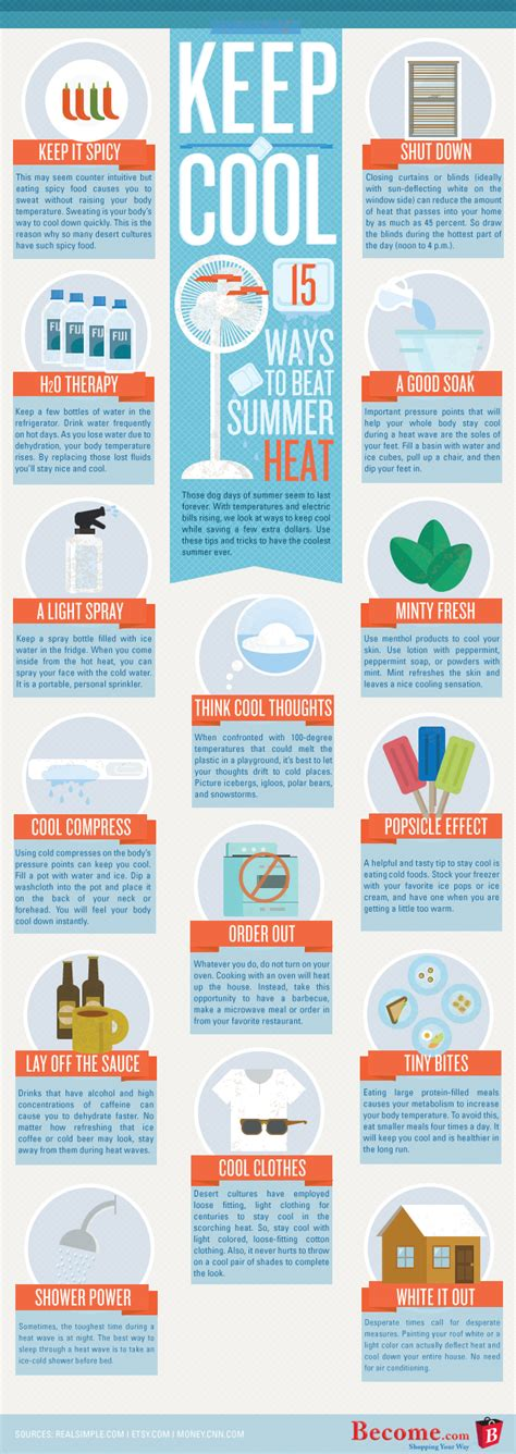 Cool Ways To In Summer by 15 Ways To Keep Cool In Summer Infographics Graphs Net