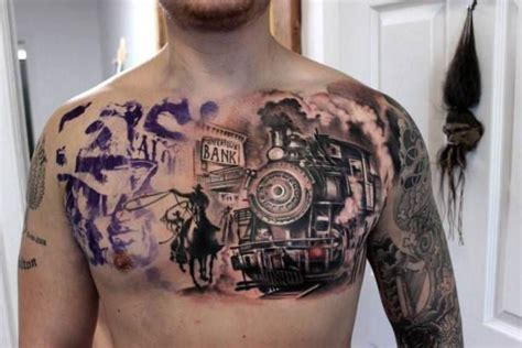 old west tattoos chest cowboy and steam locomotive