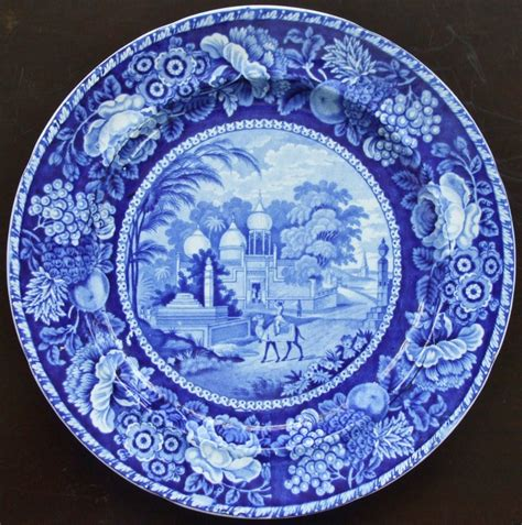 blue pattern pottery antique english georgian blue and white transfer mohamedan