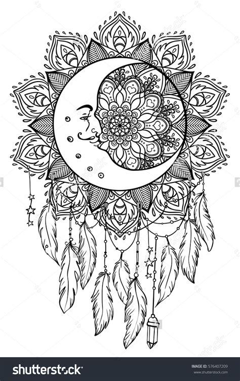 coloring pages moon dreamcatcher native american indian talisman dreamcatcher with feathers