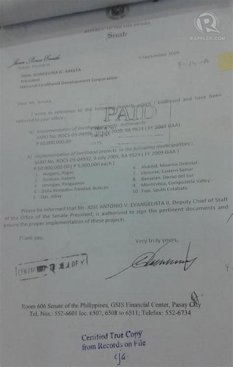 Endorsement Letter For Ngo No Trace Napoles Owned Dummy Ngos Witness Shows Ids