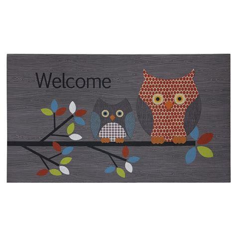 grey patterned door mat patterned owls gray 18 in x 30 in door mat 60 799 2369