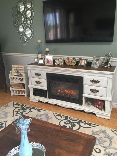 dresser turned media console fireplace hometalk