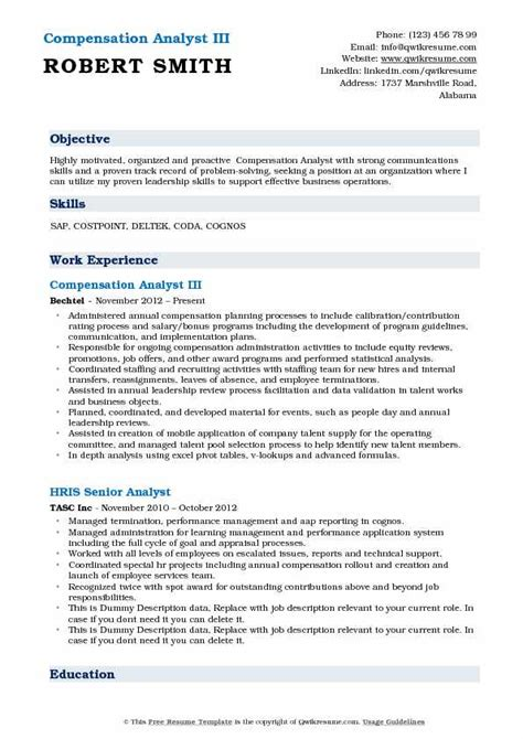 compensation analyst resume compensation analyst resume sles qwikresume