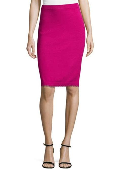 st st pull on knit pencil skirt with loop trim