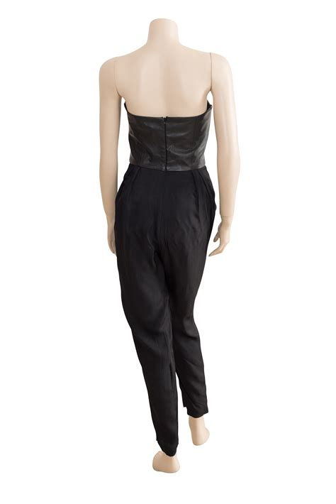 shakuhachi black leather bustier strapless jumpsuit