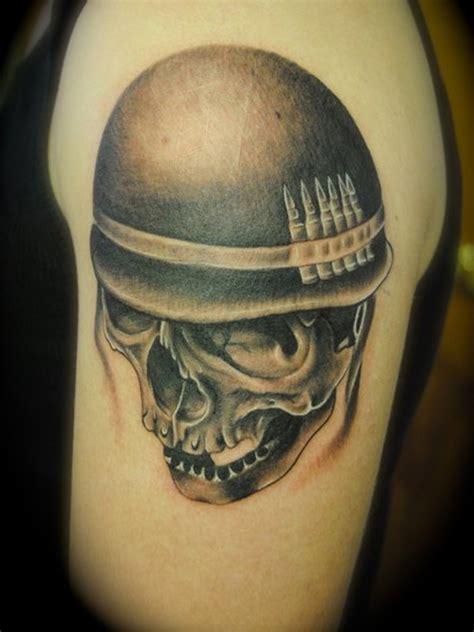 upper sleeve cover up with angry open mouth military skull