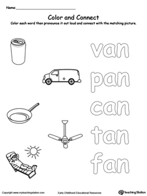 Where Can I Find Matching Preschool Word Families Printable Worksheets