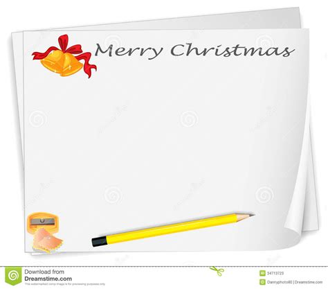 an empty christmas card template with a sharpener and a