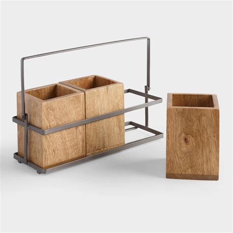 Kitchen Utensil Holder Ideas Wood And Metal Flatware Caddy World Market