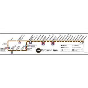 Brown Line Map Chicago by Ctagifts Com Brown Line Map Poster