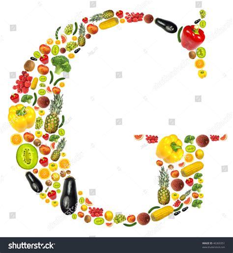 g vegetables letter g made fruit vegetable stock photo 46369351
