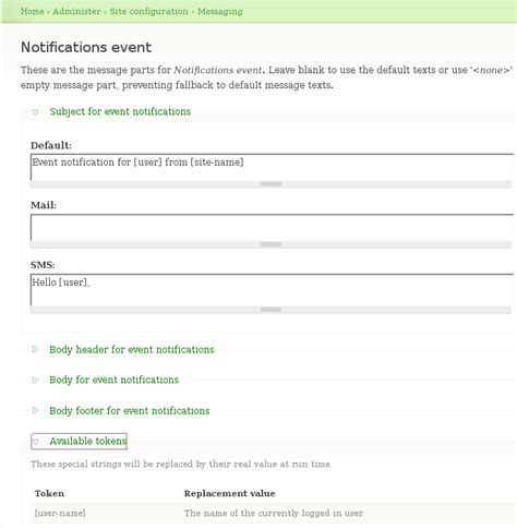 Configuration Message Templates Drupal Org Node Email Templates