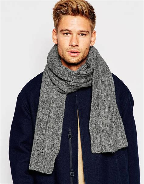 selected cable knit scarf in gray for lyst