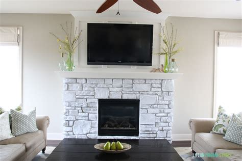 Simplicity White Washed Stone Fireplace {guest post