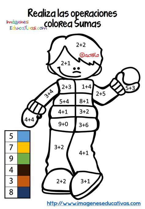 imagenes matematicas colorear coloreamos por colores sumas y restas nos divertimos