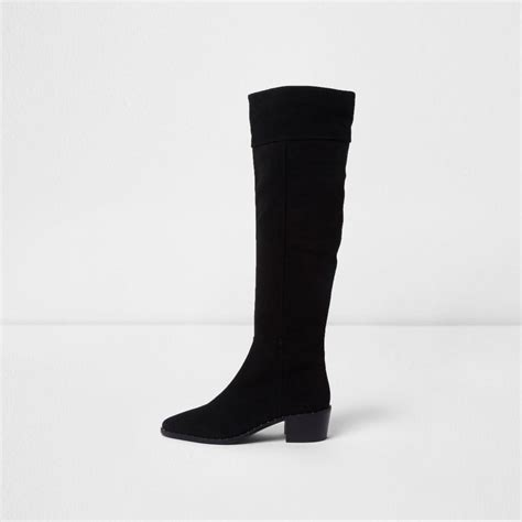 black suede knee high boots with heel river island black suede slouch block heel knee high boots