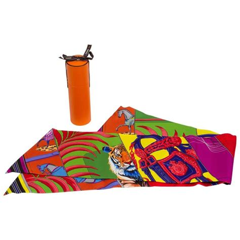 New Hermes Maxi hermes new in box silk quot carre en carres quot maxi twilly scarf for sale at 1stdibs