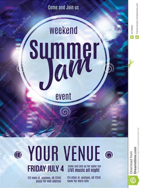 Shiny Funky And A License To Wed by Shiny Grunge Summer Jam Flyer Template Design Stock Vector
