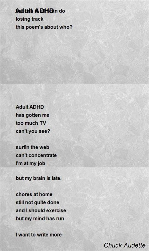 poems for my adhd poem by chuck audette poem comments