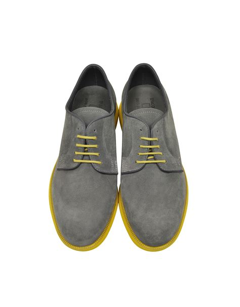 yellow oxford shoes d acquasparta gray suede oxford w yellow rubber sole in