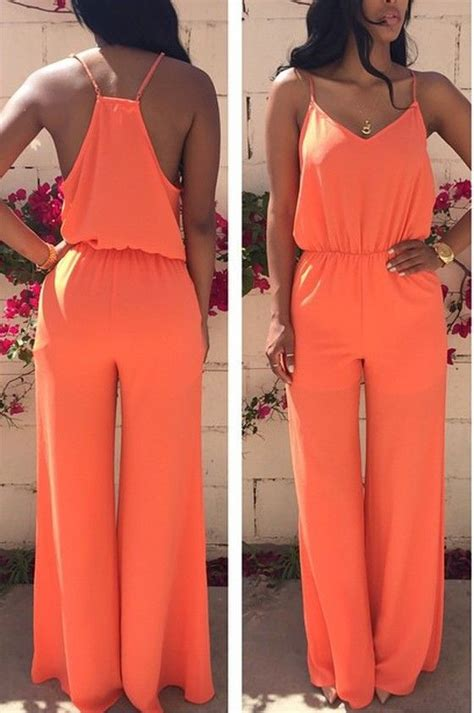 Plain Wide Leg Jumper jumpsuits jumpsuits and orange on