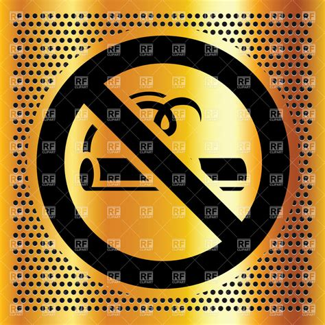 no smoking sign eps file no smoking symbol on golden perforated background vector