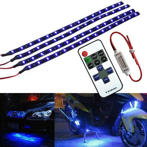 wireless remote motorcycle blue led light