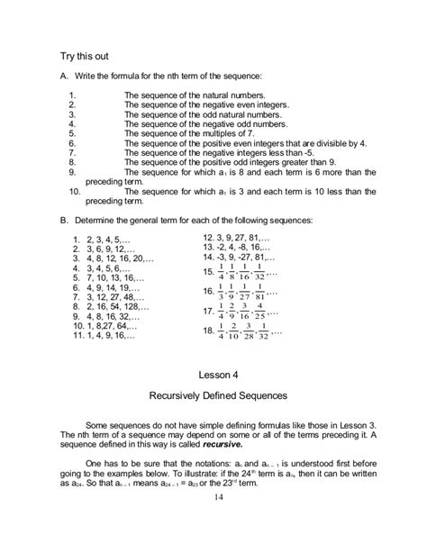 recursive pattern in math the making number patterns from recursive rules a math