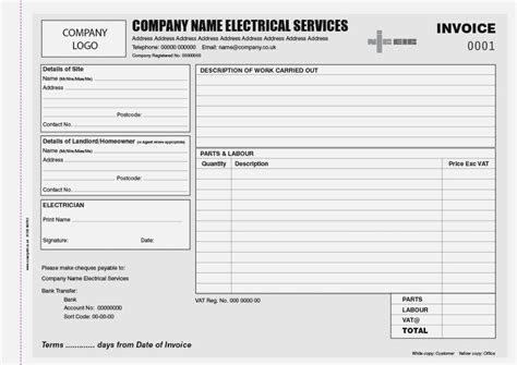 Electrical Work Order Invoice And Resume Template Ideas Electrical Work Order Invoice Template