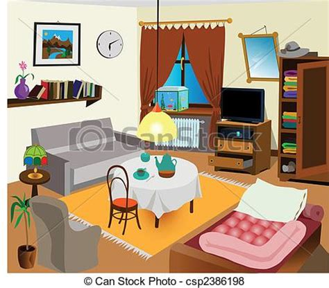 My Bedroom Clipart Vector Of Room Interior Color Illustration All Objects