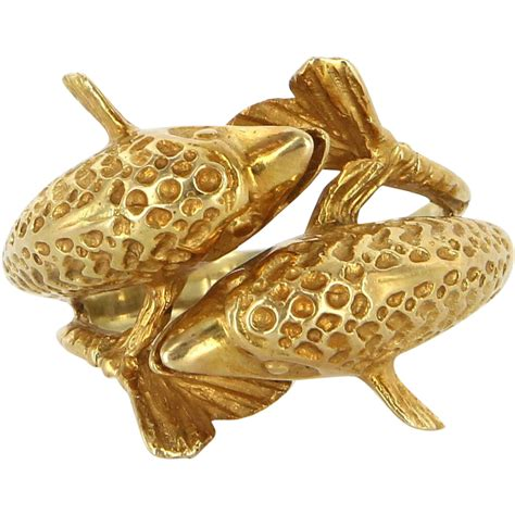 vintage 14 karat yellow gold bypass dolphin ring