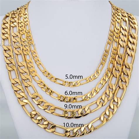 60cm Unisex Figaro Gold Chain 22k Yellow Gold Filled Gf 24mm mens figaro gold chains best chain 2018
