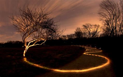 Landscape Light Painting Tree Light Painting Path Trail Hd Wallpaper Nature And Landscape Wallpaper Better