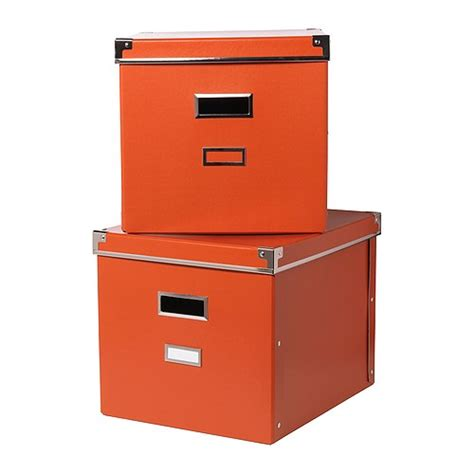 2x ikea kassett expedit bookcase storage boxes orange