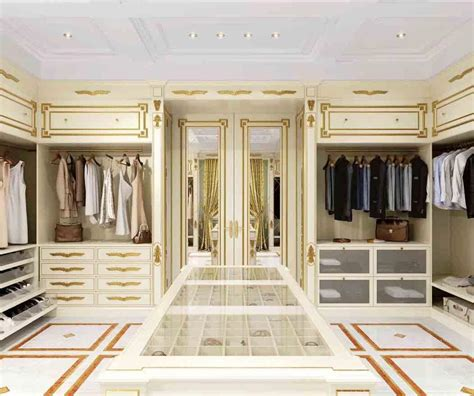 classic luxury walk in closet with gold leaf finish