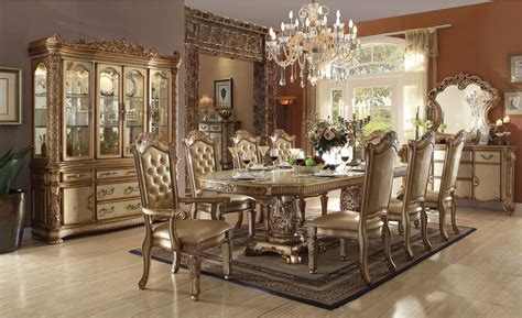 5 Piece Formal Dining Room Sets by Acme Furniture Vendome Gold Patina Dining Set