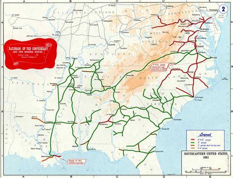 map of railroads in usa confederate states of america civil war railroad map