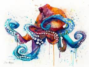water color drawings best 25 octopus painting ideas on kraken