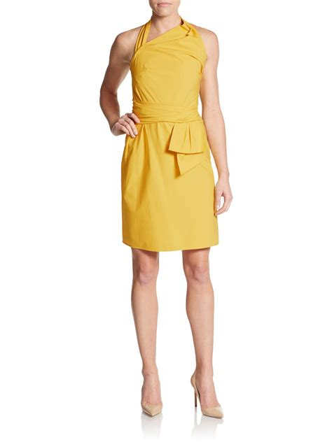 How To Copy Guccis Asymmetrical Yellow Dress For Less by Valentino Asymmetrical Halter Stretch Cotton Dress In