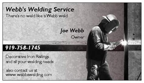 business cards templates for welding business cards from webb s welding service in raleigh nc