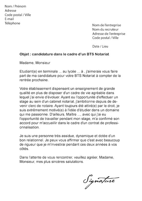 modele lettre de motivation bts notariat document